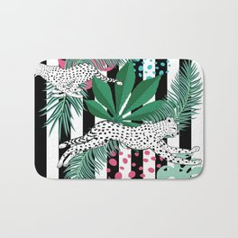 Vintage animalistic design with running cheetah over stripes Bath Mat