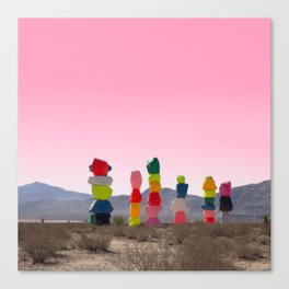 Seven Magic Mountains with Pink Sky - Las Vegas Canvas Print