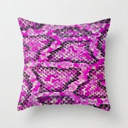 Pink and Black Camo Snake Print Throw Pillow