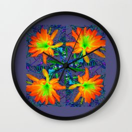 Puce Grey Tropical Red-Orange-Yellow Jungle Flowers Pattern Art Wall Clock