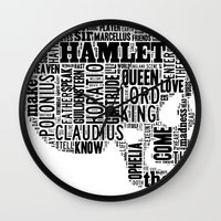 hamlet Wall Clocks featuring Shakespeare's Hamlet Skull by MollyW