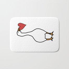 White Goose Steals Heart Bath Mat