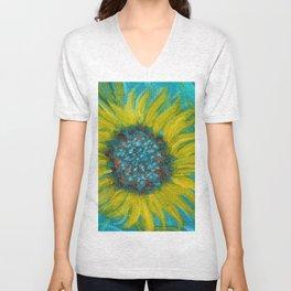 Sunflowers on Turquoise II Unisex V-Neck