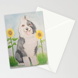 Old English Sheepdog with sunflowers Stationery Cards