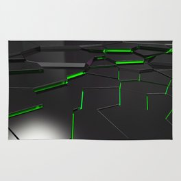 Black fractured surface with green glowing lines Rug
