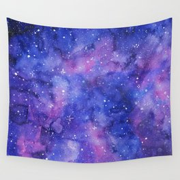 Galaxy Blue Purple Pink Watercolor Wall Tapestry