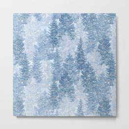 Blue Winter Conifer Forest Watercolor Pattern Metal Print