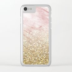 Rose gold marble sunset gradient Clear iPhone Case