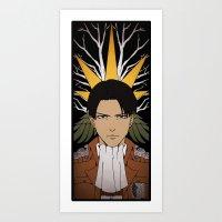 shingeki no kyojin Art Prints featuring Shingeki no Kyojin - Levi card by kamikaze43v3r