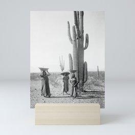 Vintage Native American Photo with Saguao Cactus Mini Art Print