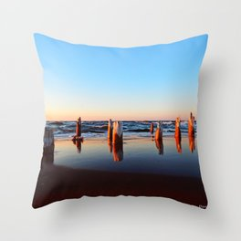 Reflected Remains on the Beach Throw Pillow