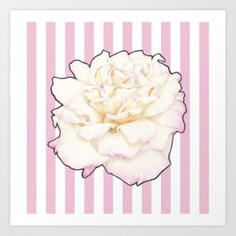 Pale Rose on Stripes Art Print