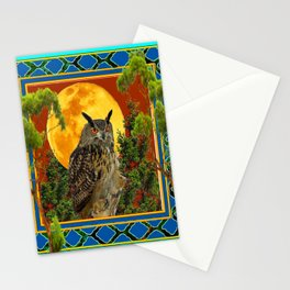 WILDERNESS OWL WITH FULL MOON & TREES TURQUOISE Stationery Cards