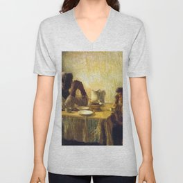 African American Masterpiece 'The Thankful Poor' by Henry Ossawa Tanner Unisex V-Neck