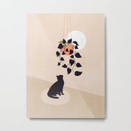 Hanging out with you forever - Cat, Plant and Moon Metal Print
