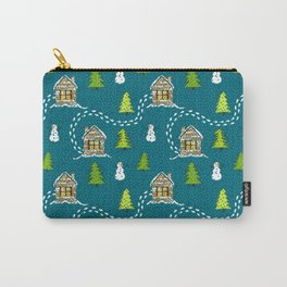 Alpine Ski lodge on Teal Carry-All Pouch