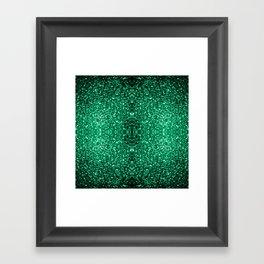 Beautiful Emerald Green glitter sparkles Framed Art Print