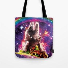 Space Cat Llama Sloth Riding Taco Tote Bag