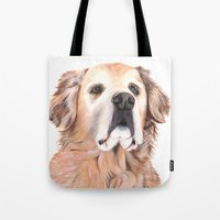 golden retriever Tote Bags featuring Golden Retriever by LouiseDemasi