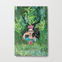 Frida and Her Monkey Metal Print