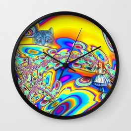 Alice in Fractal Land by Amanda Martinson Wall Clock