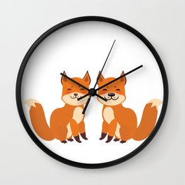 cute fox, boy and girl with funny face and fluffy tails on white background Wall Clock