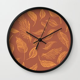 Jungle leaves minimal, Rust Copper & Yellow Marigold palette _ drawing Wall Clock