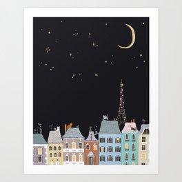 Cats in Paris Art Print