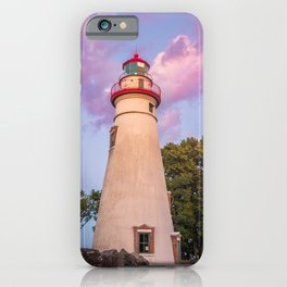 Marblehead Lighthouse at Sunset Coastal Landscape Photograph iPhone Case