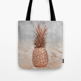 Pineapple in Glitter Marble Rose Gold And Concrete Tote Bag