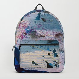 View from the Top: a pretty, minimal abstract piece in blue gold and white by Alyssa Hamilton Art Backpack