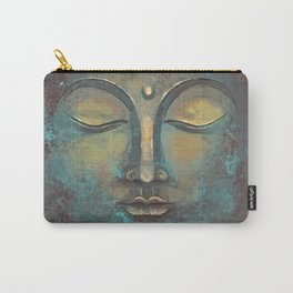 Rusty Golden Copper Buddha Face Watercolor Painting Carry-All Pouch