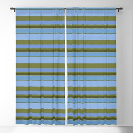 Green-Palm Blue-Sky of Crete Stripes Blackout Curtain