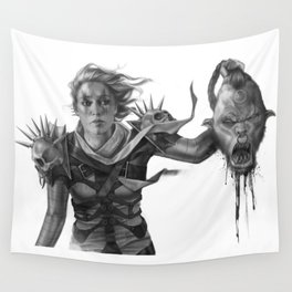 Warrior 2 Black and White Wall Tapestry