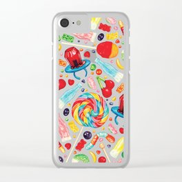Candy Pattern - White Clear iPhone Case