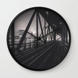 The City Through Steel Beams Wall Clock
