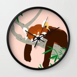 Snoozing Red Panda Wall Clock