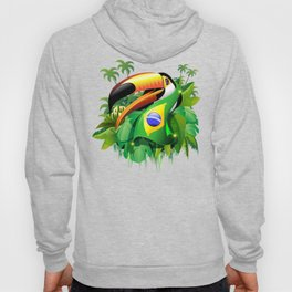 Toco Toucan with Brazil Flag Hoody