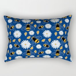 Bumble Bee with Daisy and Leaf on Navy Rectangular Pillow