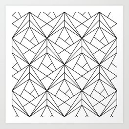 Black and White Geometric Pattern Art Print