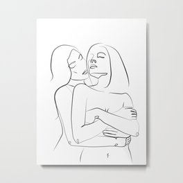 hug of love- Minimalist line art Metal Print