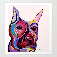 doberman Art Prints featuring Doberman by EloiseArt