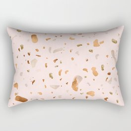 Blush terrazzo with gold and copper spots Rectangular Pillow