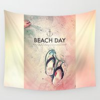 totes Wall Tapestries featuring Beach Day by Spires