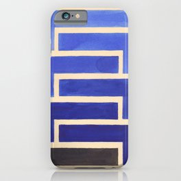 Vintage Blue Geometric Watercolor Painting iPhone Case