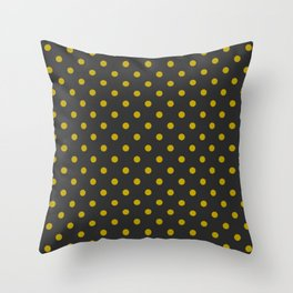 Black and Gold Polka Dots Throw Pillow