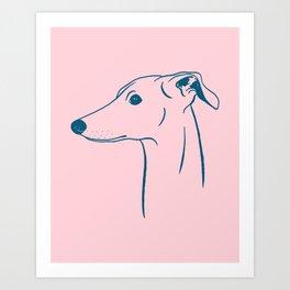 Italian Greyhound (Pink and Blue) Art Print