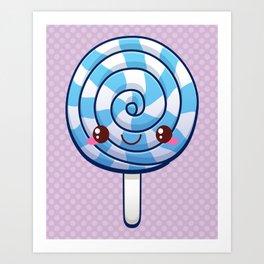 Kawaii Blue Lollipop Art Print