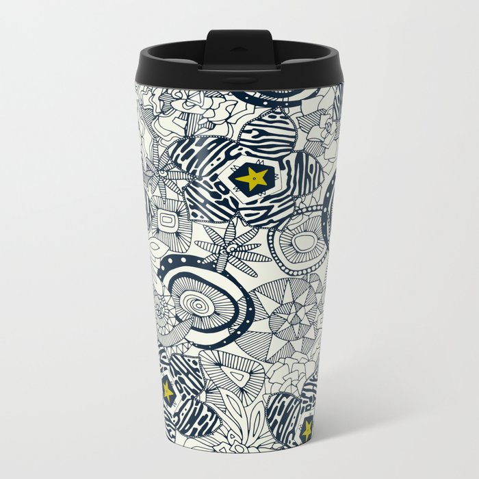 succulents ivory chartreuse star Metal Travel Mug