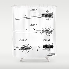 Toothbrush Patent - Bathroom Art - Black And White Shower Curtain